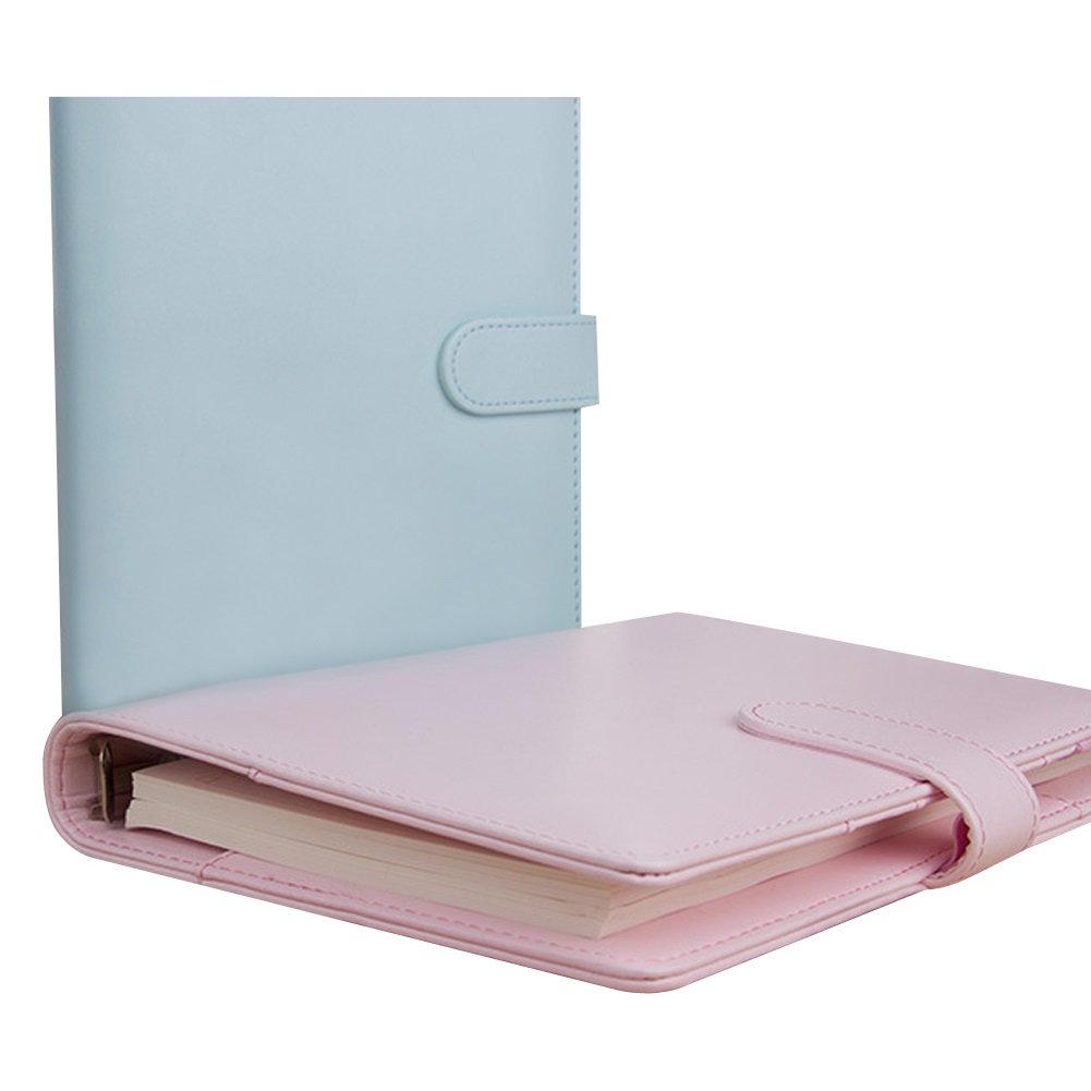 Dasior 2 Pack Hardcover Notebook, Faux Leather Cover Business Notebook Notepad with Pen Holder Card Pocket, A6 Lilac by Dasior (Image #2)
