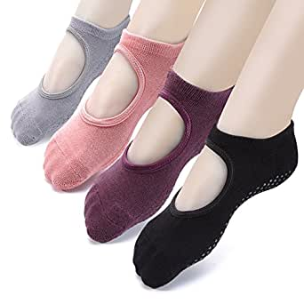 Yoga Socks Non Slip Skid Pilates Ballet Barre with Grips for Women Girls 4 Pack by Cooque