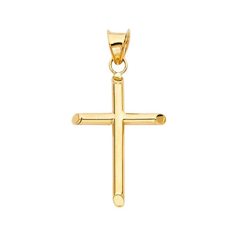 14k Yellow Gold Flat Edge Polished Cross Pendant for Teens