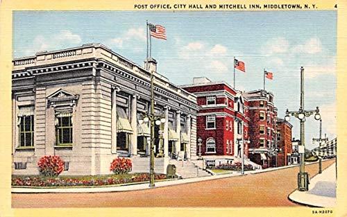 (Post Office, City Hall & Mitchell Inn Middletown, New York Postcard)