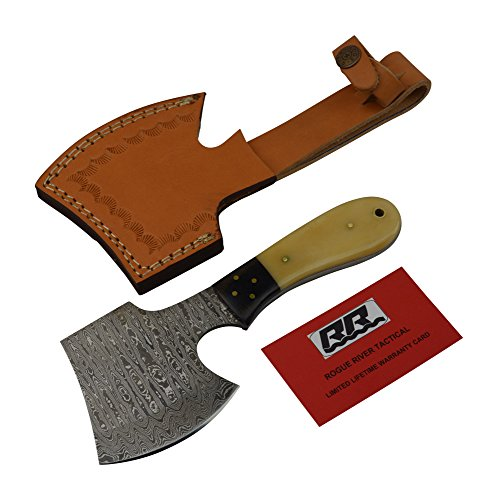 Rogue-River-Tactical-Hunting-Axe-Damascus-Steel-Blade-Hatchet-Throwing-Tomahawk-Ax-Bone-Handle-with-Leather-Sheath