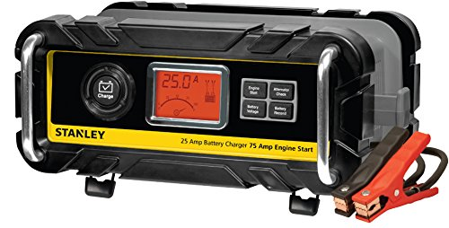 STANLEY BC25BS Fully Automatic 25 Amp 12V Bench Battery Charger/Maintainer with 75A Engine Start, Alternator Check, Cable Clamps (Black Decker Car Battery Charger)