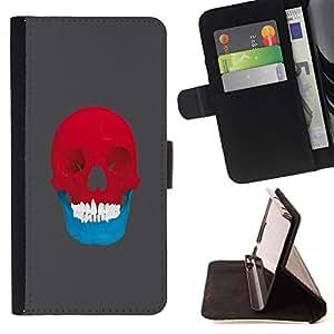 Momo Phone Case / Flip Funda de Cuero Case Cover - Red & Blue Skull - Pop Art - Samsung Galaxy Note 5 5th N9200