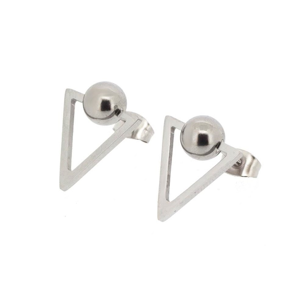 8mm Edforce Womens Stainless Steel Triangle and Round Ball Earrings,