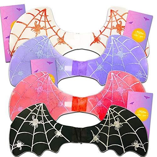 Bat Wings Costume Set for Kids Girls Boys - 4 Bat Wings with Glitter and 4 Bonus Door Hangers (Black, White, Red, Purple) ()