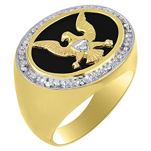 Diamond & Black Onyx Quartz Ring Sterling Silver or Yellow Gold Plated Patriotic USA Eagle