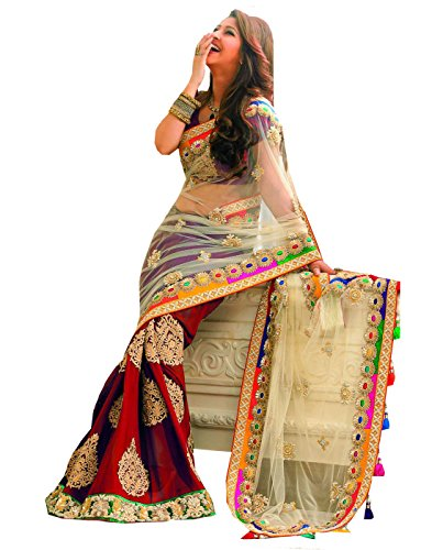 DivyaEmporio Women's Ethnic Traditional Saree with Unstitched - Sarees Indian