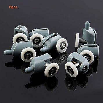 Juego de 8 rodamientos de puerta corredera para ducha, de repuesto para ruedas de cristal, poleas deslizantes: Amazon.es: Bricolaje y herramientas