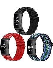 WNIPH Set van 3 armbanden, compatibel met Charge 4/Charge 4 SE/Charge 3/Charge 3 SE/Charge 3 SE/Charge 3 SE/Charge 3 SE armbanden, verstelbare geweven stof, reservearmband, elastische nylon sportarmband voor dames en heren