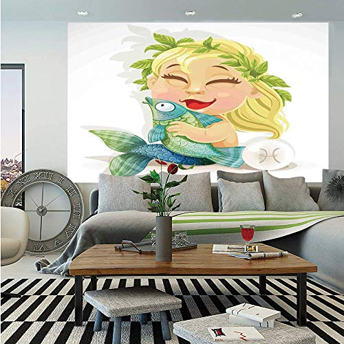 (Astrology Removable Wall Mural,Baby Pisces Symbol Holding Fish Nemo Horoscope Collection Venus Little Mermaid Boho,Self-Adhesive Large Wallpaper for Home Decor 66x96 inches,Multi)