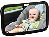 Backseat Baby Mirror — Extra Large — Ideal for Rear-Facing Infant Car Seats — Adjustable - 360 Degree View — Crystal Clear Viewing — Shatterproof