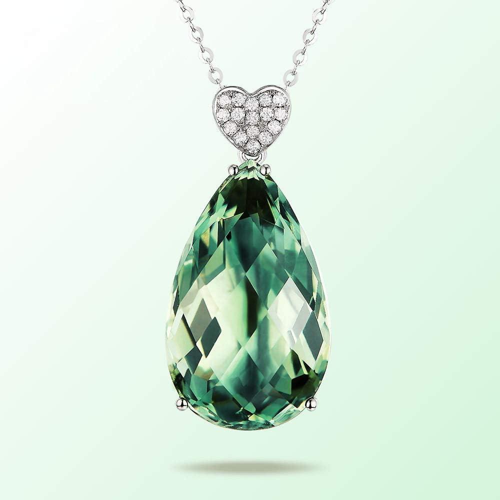 QKL Collar Clásico De Piedras Preciosas De Color De Circón Hembra, Colgante De Cristal Verde