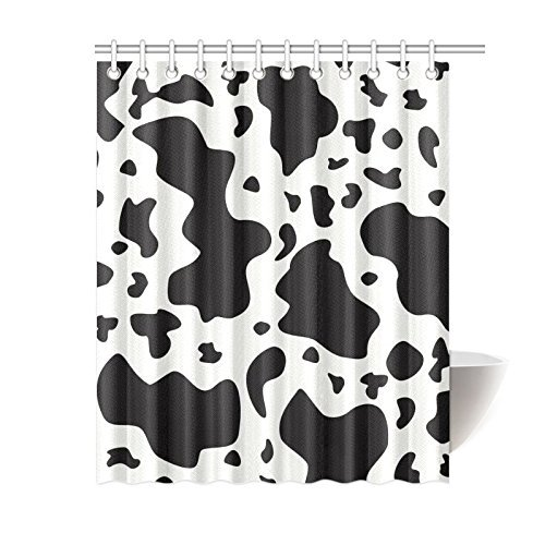 Cow Cattle Print Black and White Pattern Waterproof Polyester Fabric Bathroom Shower Curtain with 12 Hooks 60
