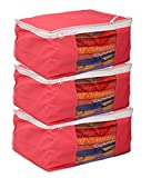 Kuber Industries™ Non woven Saree cover Bag Set of 3 Pcs /Wardrobe Organiser/Regular Clothes Bag Pink-19177