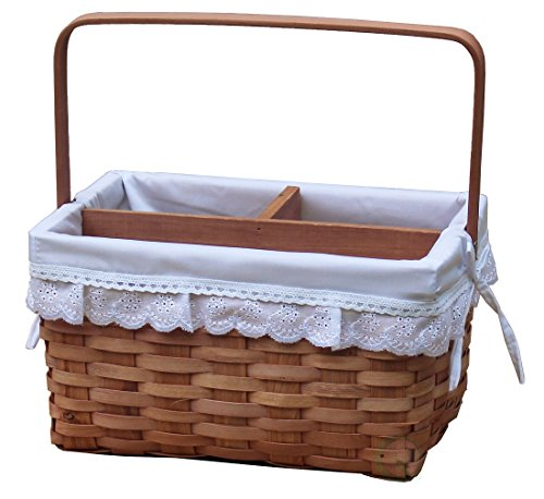 Vintiquewise(TM) Woodchip Picnic Caddy Basket Lined with Lace Trim by Vintiquewise