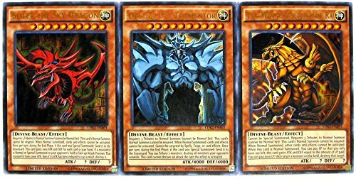 Konami YuGiOh Legendary Decks II Ultra Rare Yugi's God Card Set LDK2-ENS01, LDK2-ENS02 & LDK2-ENS03 (Best Egyptian God Card)