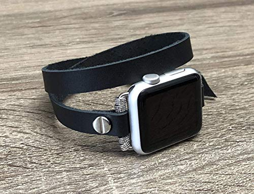 Black Leather Bracelet For Apple Watch 38mm 40mm 42mm 44mm Handcrafted Double Wrap iWatch Band Adjustable Size Strap iWatch Bracelet Unisex Apple Watch Band Silver Jewelry