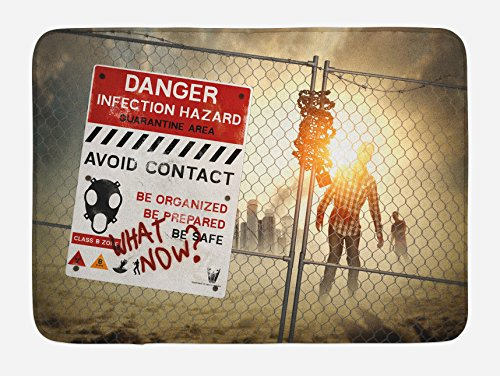 Ambesonne Zombie Bath Mat, Dead Man Walking in Dark Danger Scary Scene Fiction Halloween Infection Picture, Plush Bathroom Decor Mat with Non Slip Backing, 29.5 W X 17.5 L Inches, Blue]()