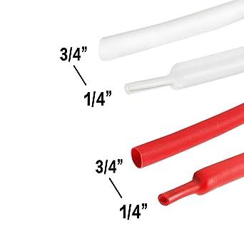 "18Feet 3/"" Electrical Assortment Sleeving Tuner Heat Shrink Tubing 2:1 Ratio"