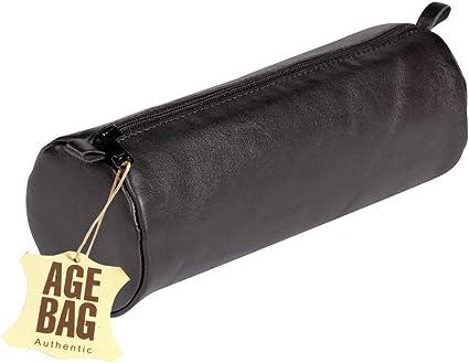 Clairefontaine Schlamperm AgeBag - Estuche Redonda de Piel, 22 x Ø 8, Negro: Amazon.es: Oficina y papelería