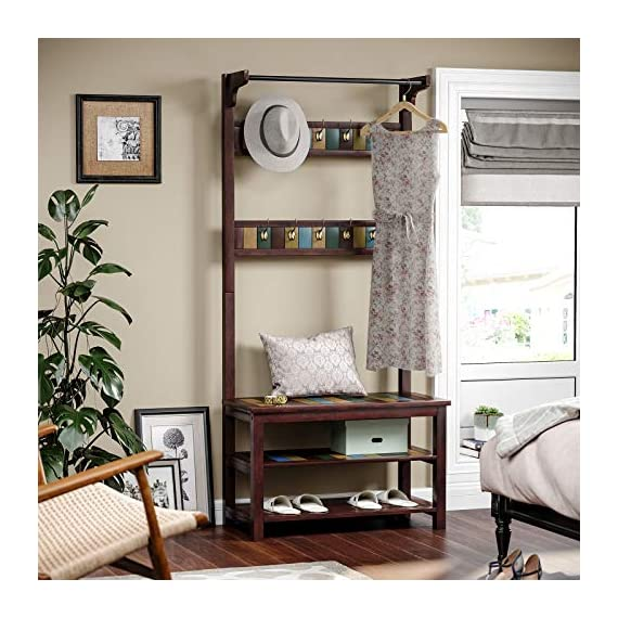 VASAGLE Hall Tree, Coat Rack Shoe Bench with 10 Dual Hooks, 2 Storage Shelves, Entryway Organizer with Solid Wood Frame, Country Brown URCR06GL - A POP OF COLOR: Brown, yellow, green, blue-find your favorite hue on the charming colorful boards surrounded by a dark country brown and perk up your entryway with this hall tree to show your personality WELCOME HOME: Leave your heavy coat, bag, and keys to the 10 dual hooks, shoes to the 2 storage shelves, sit down on the shoe bench, let the fatigue stop on this all-in-one coat rack, and start a relaxing night with a pair of cozy slippers STABILITY? NO WORRIES: Relax and sit! With a solid wood frame and engineered wood shelves, you're in good hands on this shoe bench that can hold 264 lb; so are the clothes, hats, and shoes, as each metal hook holds 11 lb, and each storage shelf 66 lb - hall-trees, entryway-furniture-decor, entryway-laundry-room - 51zDTqzg9kL. SS570  -