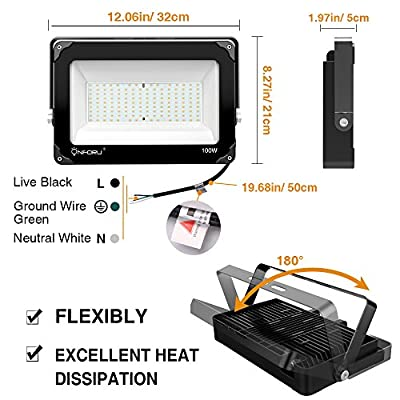 Onforu 2 Pack 100W LED Flood Light, 10000lm 5000K Daylight White, IP65 Waterproof Super Bright Security Lights, Outdoor Floodlight for Yard, Garden, Playground, Basketball Court