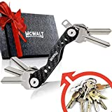Carbon Fiber Key Organizer Keychain - VER 2.0 Stainless Steel Screws, Smart Compact Key Holder Keychain up to 20 Keys with Carabiner, Cash Stash SIM and Bottle Opener, Black Folding Keychain Multitool