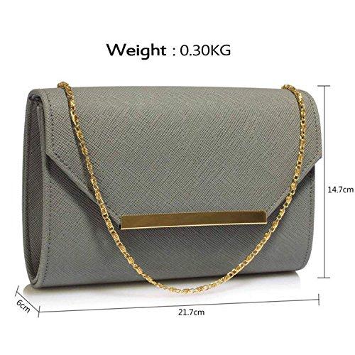 London Bridal Ladies Style Flap Clutch Medium Faux Grey 2 Leather Prom Women Bag Uk Envelope Xardi Evening SUnd8xd