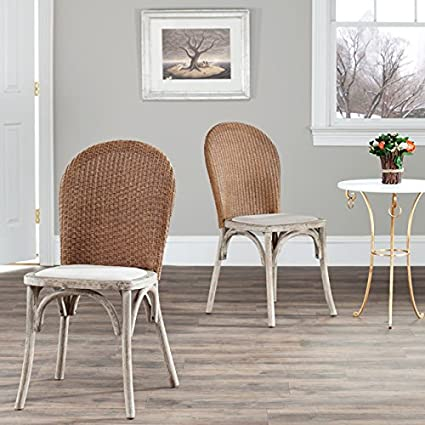 Safavieh Mercer Collection Sharon Finish Taupe Side Chairs, Antique Oak,  Set of 2 - Amazon.com - Safavieh Mercer Collection Sharon Finish Taupe Side