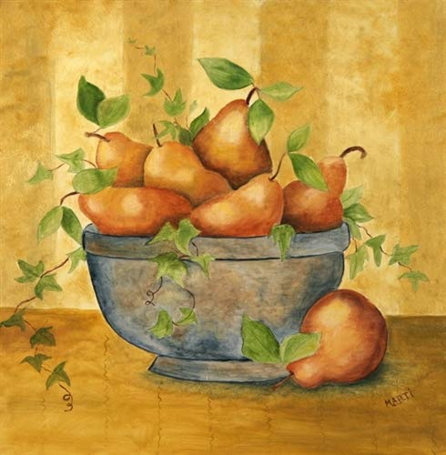 Pears in Bowl Custom Dishwasher Cover Panel