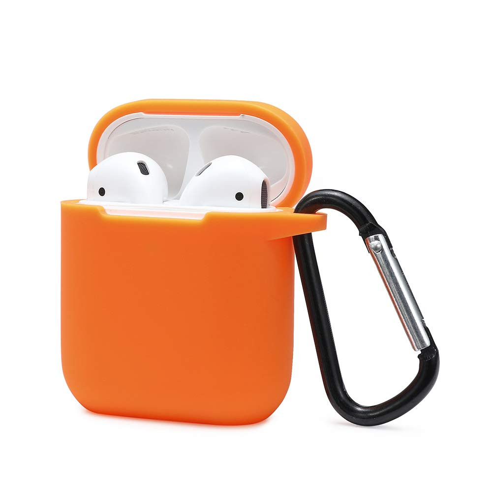 KOKAKA AirPodsケース用 キーホルダー付き 360度保護プレミアムシリコンAirPodsカバー AirPods2と1充電ケースに対応 [前面LEDは見えません] オレンジ   B07QXLFDLH