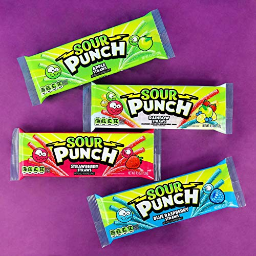 Sour Punch Straws, Variety 6 Pack, 4 Fruity Sweet & Sour Flavors, 4.5oz Trays (Blue Raspberry Sour Punches)
