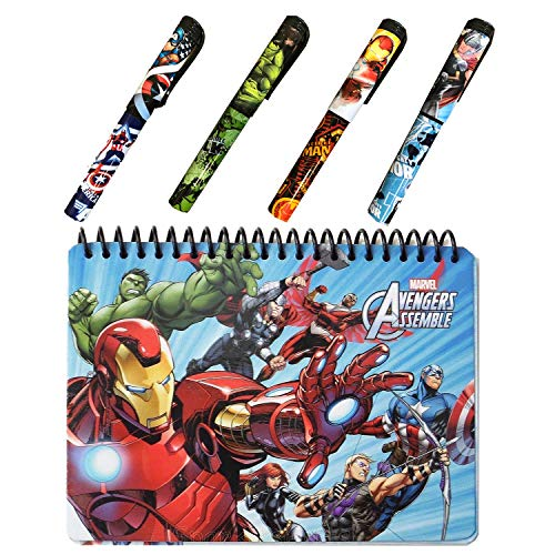 Avengers Autograph Book for Universal Studios and 4 Superhero Pens- Marvel Avengers Spiral Notebook, Hard Back, Iron Man, Captain America, Thor, Hulk and Black Widow Accessories ()
