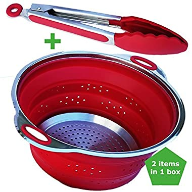 Premium Collapsible Silicone and Stainless Steel Colander And Steamer With Handles Plus a Kitchen Tong with Good Grips From Elegant Butler In a Box (Red Set). A Gift Idea For Those Who Love To Cook