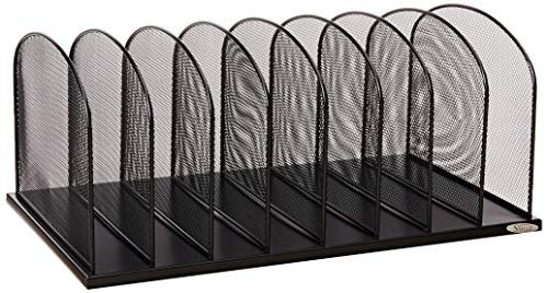 Safco Products Onyx Mesh 8 Sort Vertical Desktop Organizer 3253BL, Black Powder Coat Finish, Durable Steel Mesh Construction, Eco-Friendly