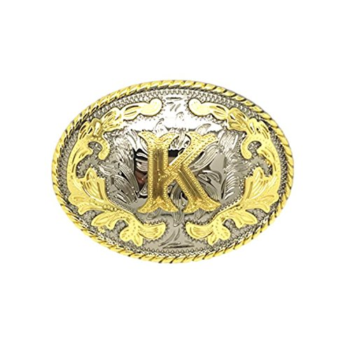 Unisex Adult Alphabet Letter Oval Western Belt Buckle (One Size, Golden(K))