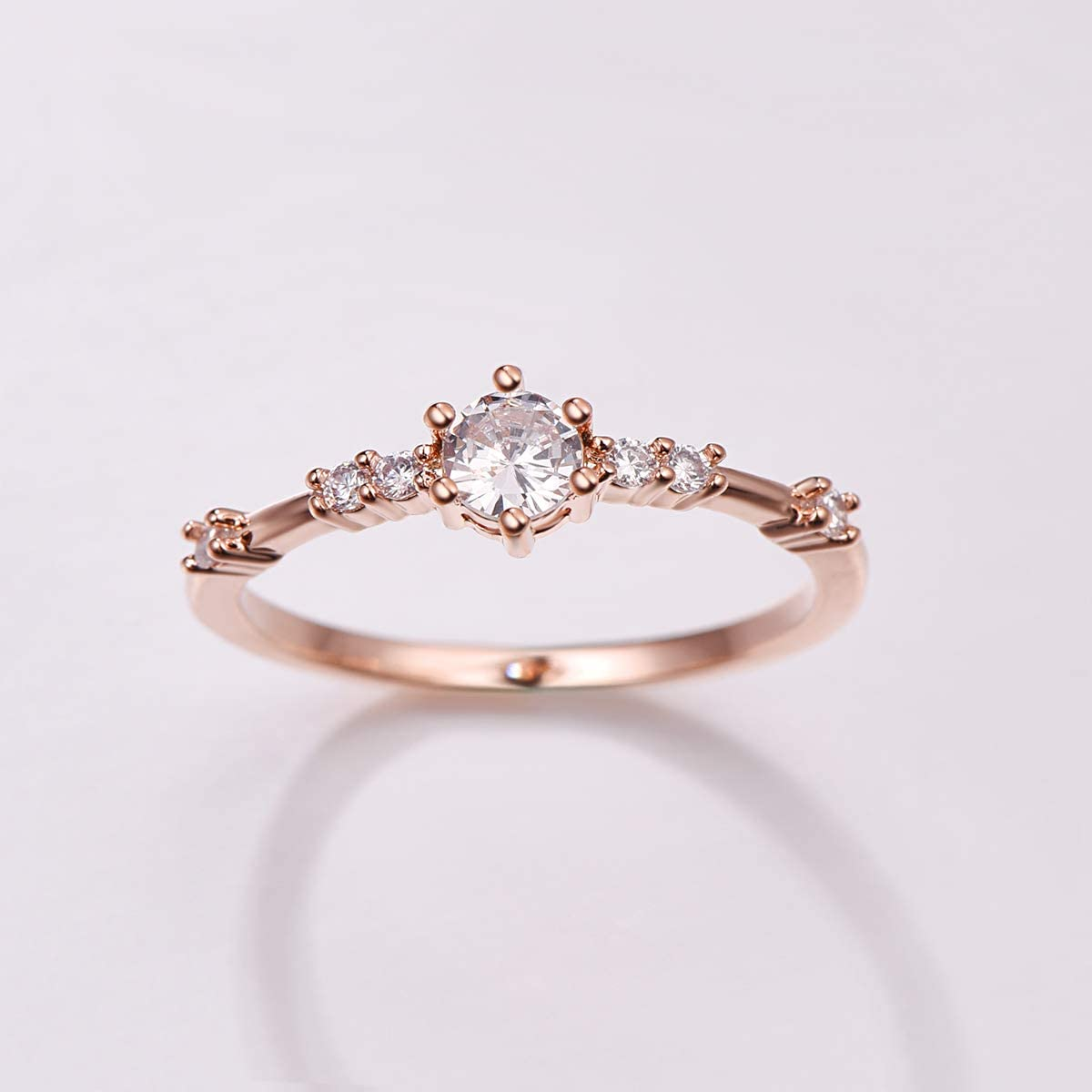 PAKULA Rose Gold Plated Women Cubic Zirconia CZ Dainty Knuckle Band Stacking Midi Promise Ring for Her