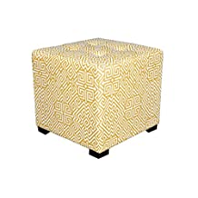 "MJL Furniture Designs Merton-SantoGoldRd  Merton Collection, Fabric Upholstered Modern Cube Foot Rest Ottoman with 4 Button Tufting, Gigi Series, Salmon, Gold, 17"" x 19"" x 19"""