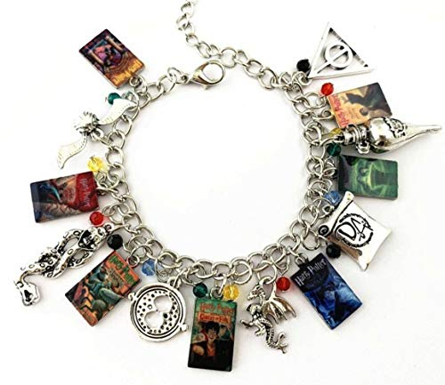 Large Logo Charm - Mainstreet247 Harry Potter Books and Logo Charm Metal Novelty Charm Bracelet