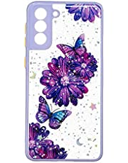 TYWZ Crystal Clear Bling Sparkly Case voor Samsung Galaxy S21 Plus, Glitter Glanzend Slanke Harde PC Drop Protection Shockproof Vrouwen Meisjes Cover-Paars Vlinder Bloem