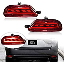 KE-KE 3D Optic Red Lens Full LED Bumper Reflector Lights Tail Brake Rear Fog lights and Sequential Turn Signal Lamps for 2017 2018 2019 Mazda cx-5 cx5 accessories