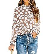 PRETTYGARDEN Women's Knit Floral Print Sweater Crewneck Long Sleeve Lightweight Pullover Sweatshirt