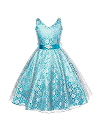 FREE FISHER Kids Girls Tulle Lace Formal Prom Dress