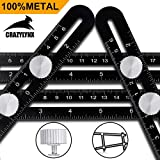 Multi Angle Measuring Ruler - CrazyLynX Premium Aluminum Alloy Easy Angle Ruler, Precise Angle Ruler Template Tool with FREE Protective Pouch, Great Gift for DIY Handymen Builders Carpenters Tilers