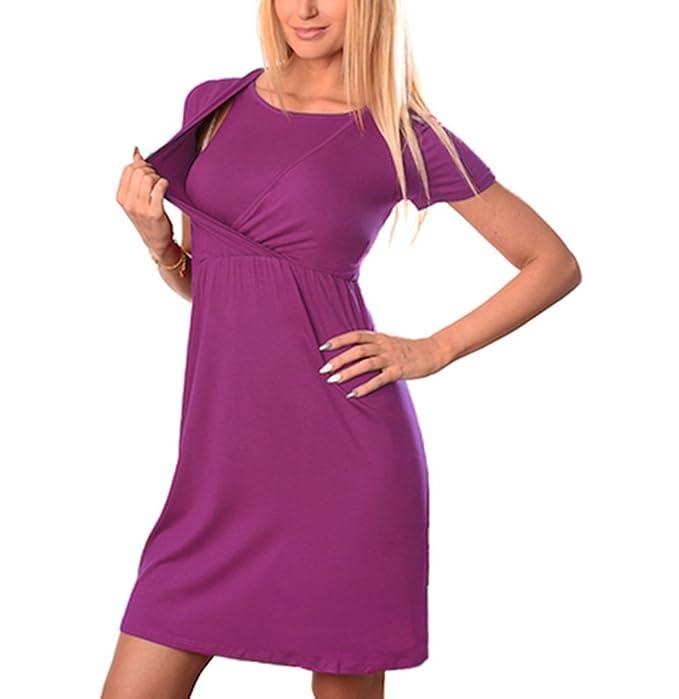 Keephen Vestidos de Lactancia para Mujeres Embarazadas Vestido de Lactancia Materna de Manga Corta Vestido de Alimentación Vestidos para Embarazadas: ...