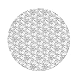 Best Creme of Nature In Natures - Polyester Round Tablecloth,Grey Decor,Swirled Blossom Leaves Kitsch Exquisite Review