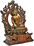 Shrine Statue Buddha,brass Metal Tibetan Bhumisparsha Meditating Old Buddhist Shakyamuni, Gilt Carved Antique Finish