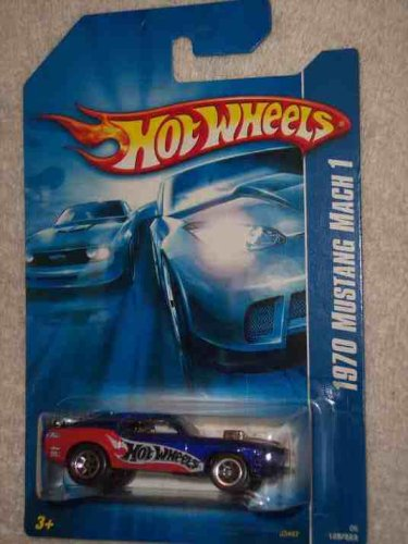 Hot Wheels Blue Card - #2006-125 1970 Mustang Mach 1 Blue 07 Card Collectible Collector Car Mattel Hot Wheels 1:64 Scale