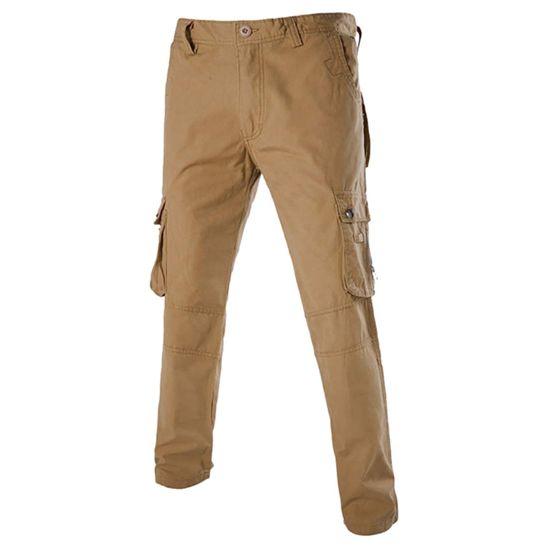 Spbamboo Mens Pants Cargo Casual Multi-Pocket Zipper Outdoors Solid Trousers
