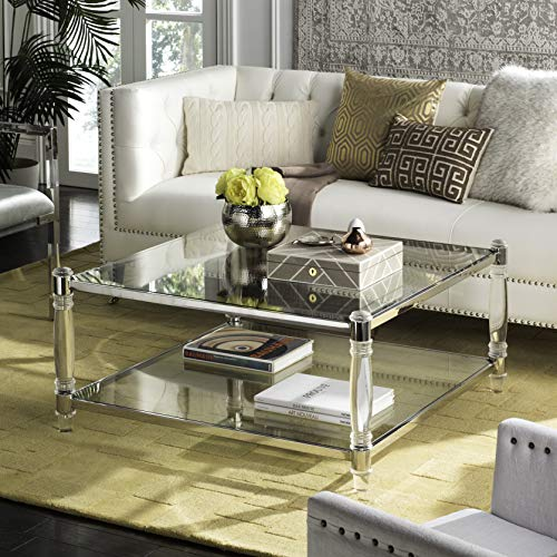 Safavieh Home Collection Isabelle Acrylic Coffee Table, Silver (Table Coffee Acrylic Square)